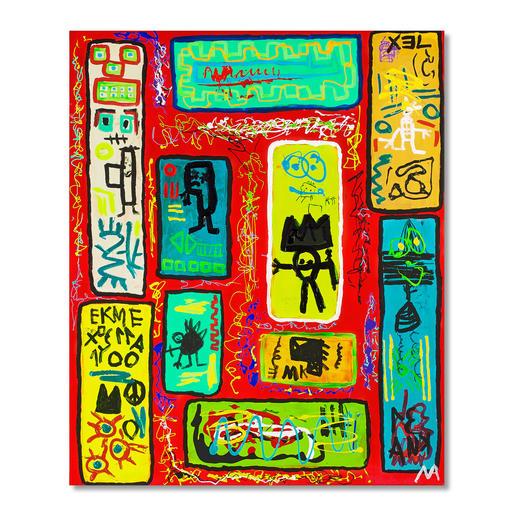 Mikail Akar – Ryra Erst 7 Jahre alt – schon 4-stellige Verkaufspreise. Deutschlands jüngster Abstraktkünstler Mikail Akar: Handübermalte Edition seiner gefragten Werke im Basquiat-Stil. Maße: 90 x 110 cm