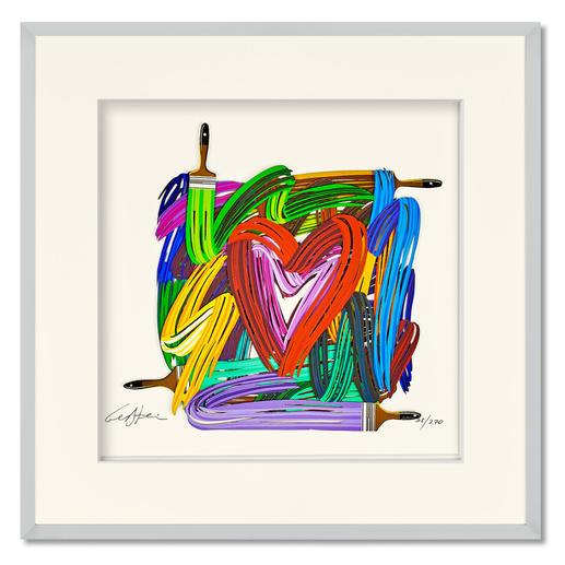 David Gerstein – Touching Heart - Papercut David Gerstein: Israels bedeutendster Bildhauer mit einer seiner seltenen Papier-Skulpturen. Handkolorierte 3D-Edition. 270 Exemplare. Maße: gerahmt 52 x 52 cm