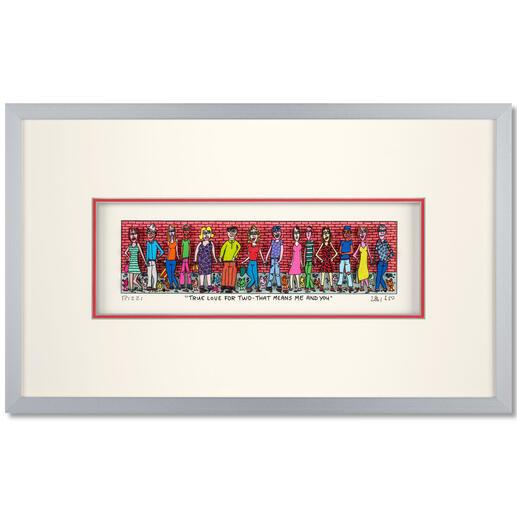 James Rizzi – True love for two - That means me and you Rarität – 3D-Papierskulpturen des verstorbenen James Rizzi. 350 Exemplare. Maße: gerahmt 41,5 x 25,5 cm