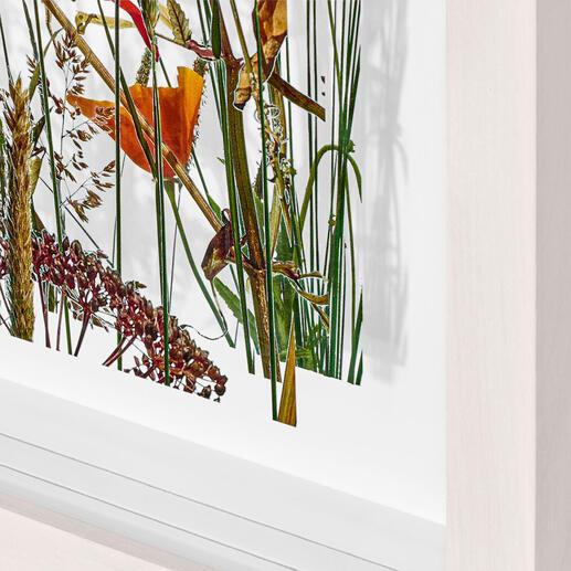 Der Druck auf zwei Acrylglasscheiben lässt 3 Ebenen mit spannender Wirkung von Licht und Schatten entstehen.