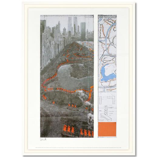 """Christo – The Gates XXXVII Rarität: handsignierte Christo-Edition. Letzte 15 Exemplare """"The Gates XXXVII"""". Maße gerahmt: 80 x 110 cm"""