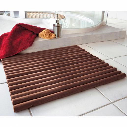 Holzvorleger - Durch ovale Holzstäbe besonders fußfreundlich. Pflegeleicht abwaschbar.