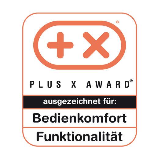 Im September 2013 wurde dieser TV-Simulator gleich mit 2 Plus X Awards ausgezeichnet: für Bedienkomfort + Funktionalität.