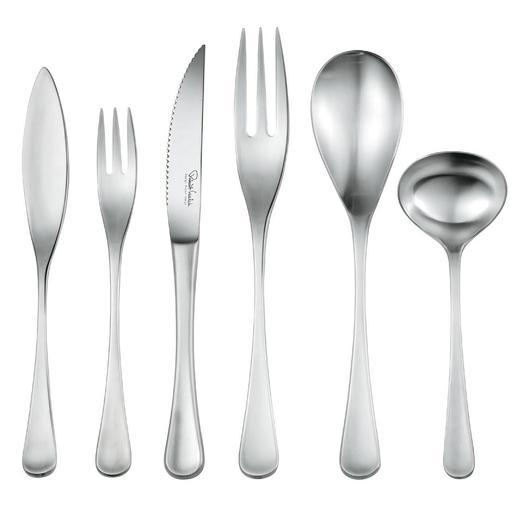 """Auf Wunsch ergänzen Sie Ihr """"RW II""""-Design-Besteck um Fischmesser, Fischgabel, Steakmesser, Vorlegegabel, Vorlegelöffel und Soßenlöffel."""