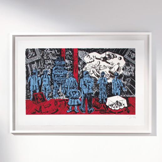 """Nummerierte Immendorff-Grafik """"The Rake's Progress"""" - Sichern Sie sich einen der letzten, noch handsignierten Drucke von Jörg Immendorff."""