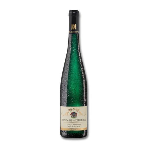 """Piesporter Goldtröpfchen Spätlese 2013, Weingut Reichsgraf von Kesselstatt, Mosel, Deutschland - """"… klar, präzise, rein, intensiv und pikant."""" (Robert Parker, robertparker.com, Wine Advocate 217, 02/2015)"""