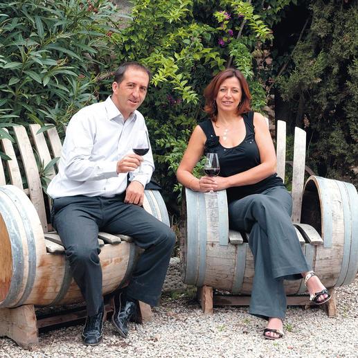 Weinmacher Jean-Marc Lafage und seine Ehefrau Eliane
