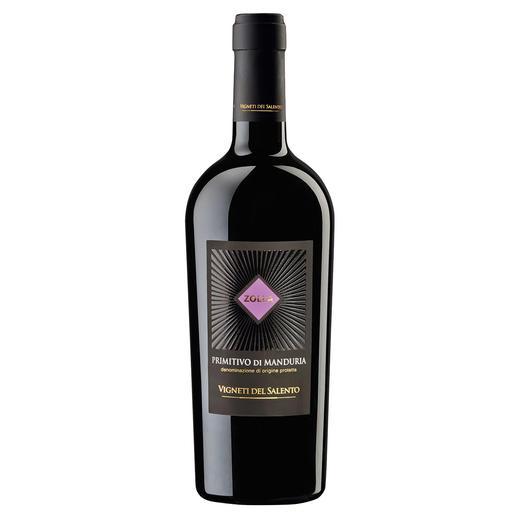"""Zolla Primitivo di Manduria 2015, Farnese, Vigneti del Salento, Apulien, Italien Im Jahrgang 2013 der """"beste Rotwein Italiens.""""* Im Jahrgang 2015 noch besser? *(Mundus Vini, Frühjahrsverkostung 2014, www.mundusvini.com)"""