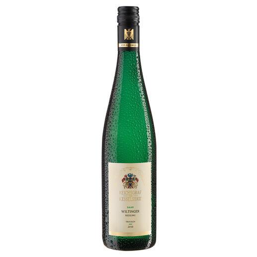 """Wiltinger Riesling 2018, Reichsgraf von Kesselstatt, Mosel, Deutschland """"Ganz sicher mit einem großen Gewächs vergleichbar."""" (Robert Parker, The WineAdvocate244, 08.2019)"""