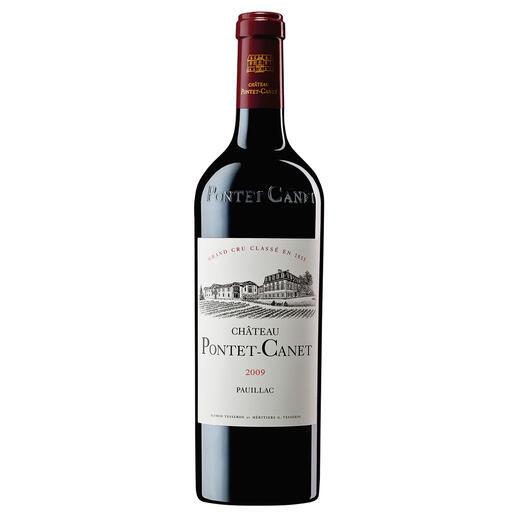 """Pontet Canet 2009, 5ème Grand Cru Classé, Pauillac, Bordeaux, Frankreich """"Ein in jeder Hinsicht herausragender Wein. 100 Punkte."""" (Robert Parker, Wine Advocate 199, 12 / 2011)"""