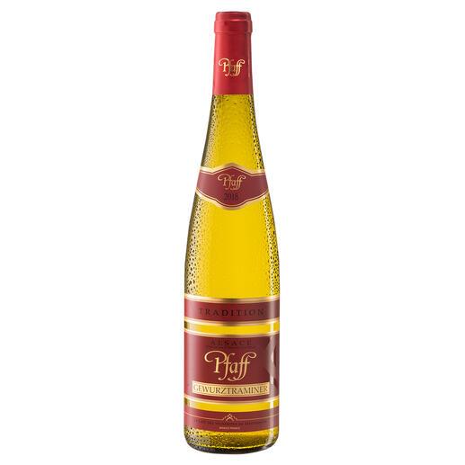 Pfaff Gewürztraminer 2018, La Cave des Vignerons de Pfaffenheim, Alsace, Frankreich Gewürztraminer, die Spezialität vom wohl höchstbewerteten Weinproduzenten aus dem Elsass.